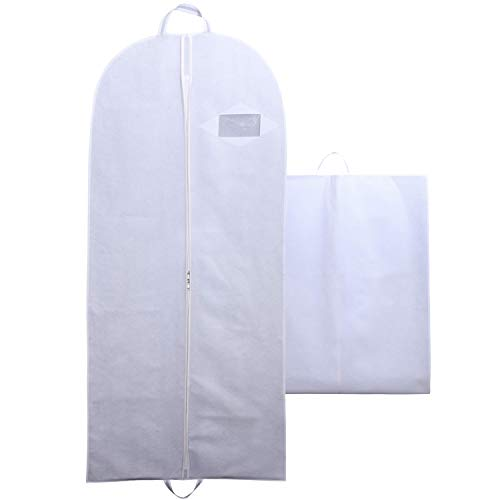 Goal Winners Breathable Wedding Gown Long Dress Bridesmaid Showerproof Garment Clothes Cover Storage Bags - 183cm (72 Inch) - White