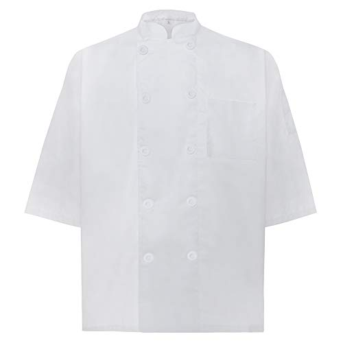 TOPTIE Unisex Short Sleeve Chef Coat Jacket, White