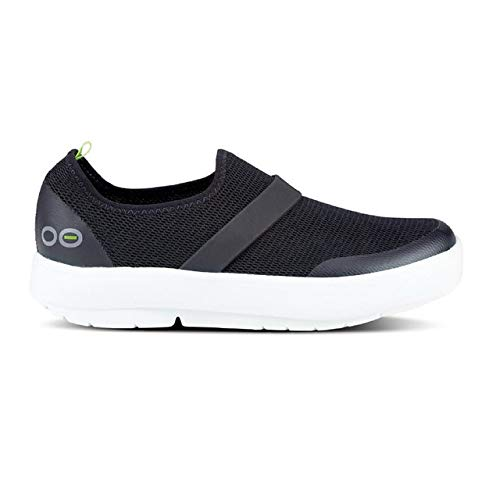 OOFOS Women's OOmg Shoe - Post Exercise Active Recovery Footwear Plantar Fasciatis & Impact Absorbing Orthopedic Foot & Heel Pain Relief Sneaker - White/Black - W7