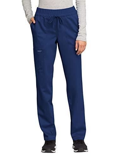 CHEROKEE Workwear Revolution WW105 Women's Mid Rise, Tapered Leg Drawstring Pant, Navy, M