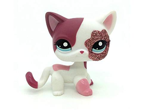 WooMax Littlest Pet Shop LPS Spielzeug 2 '' Pink White Sparkle Glitter Kurzes Haar Katze Beste Geburtstagsgeschenk