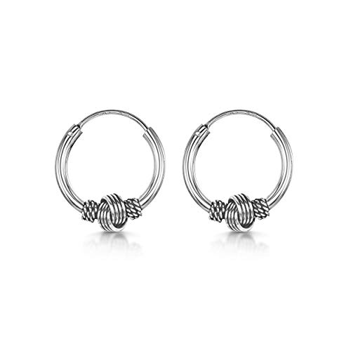 Amberta Fine 925 Sterling Silver - Circle Endless Bohemian Hoops - Round Sleeper Bali Tribal Earrings - Diameter Size: 15 mm - Knot