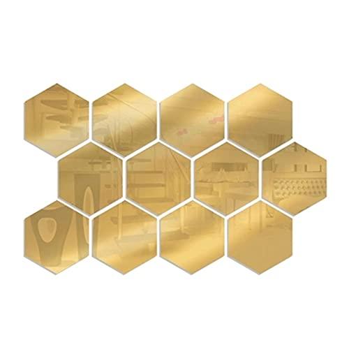 Etiqueta de la Pared del Espejo Hexagonal pegatinas de pared removible Acrílico Decorativo Espejo DIY Decoraciones para el hogar para el baño Baño Sala de estar 12 unids Escritura de las calcomanías p