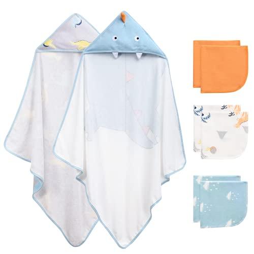 Momcozy Toalla con Capucha de Baño para Bebés con Lindo Diseño de Elefante, 100% Algodón, Bañar...