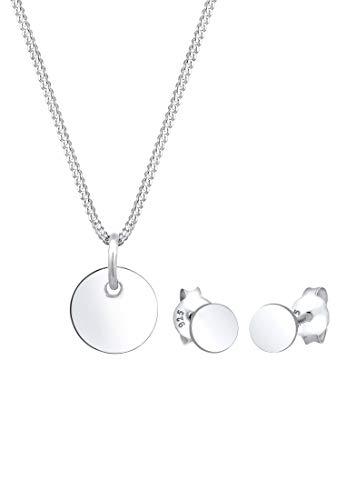 Elli Schmuckset Damen Plättchen Geo Basic Trend in 925 Sterling Silber