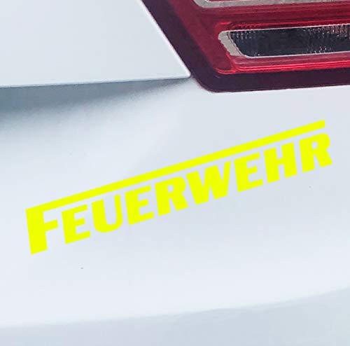 PrintAttack P058 | Auto Aufkleber Wunschfarbe Feuerwehr | langes F | Autoaufkleber | Sticker | Verschiedene Größen (Neongelb, 20cm x 3cm)