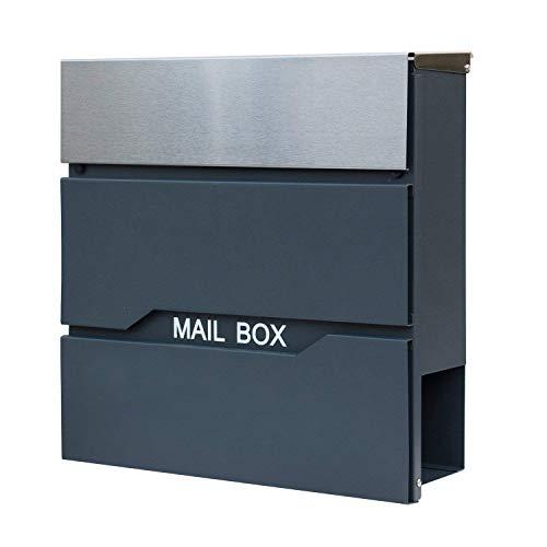 UISEBRT Modern Briefkasten Anthrazit mit Zeitungsfach Groß Postkasten Post Wetterfest Mailbox Wandbriefkasten, abschließbar, Verzinktes Blech