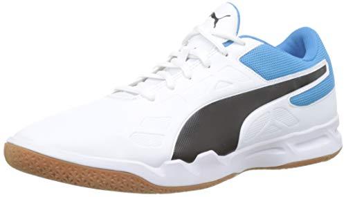 Puma Unisex-Erwachsene Tenaz Multisport Indoor Schuhe, Weiß (Puma White-Puma Black-Bleu Azur-Gum), 43 EU