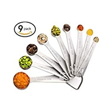 Measuring Spoons, TEMEISI 18/8 Stainless Steel Teaspoon&Tablespoon Measuring Spoons for Measuring Dry and Liquid Ingredients Set of 9 Perfect Tool for Home,Kitchen,Baking,Cooking