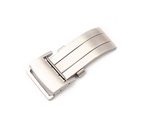 BOB Herren Faltschließe L316 Edelstahl kompatibel Breitling Uhrenarmbänder 20 mm Silberfarben, matt