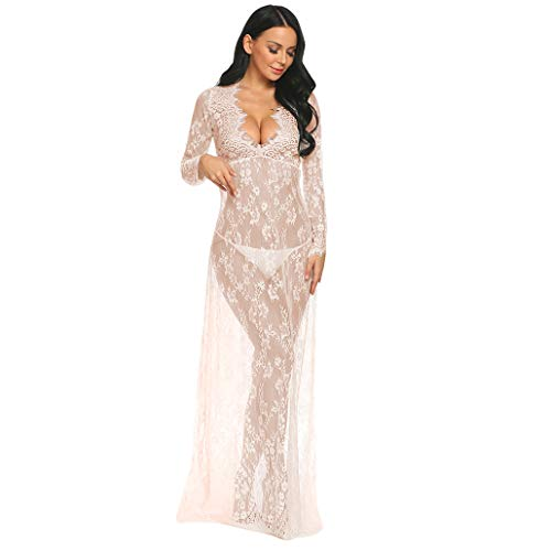 COSYOU Sexy Deep V-Neck Long Sleeve Lace Dress Beach Maxi Dress Photography...