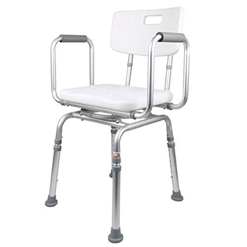 TZSMYD Duschhocker mit drehbarem Sitz Badewanne Dusche Aufzug Stuhl mit Armlehnen Rückenlehne einstellbar in 6 Höhe Badehilfe for Senioren, Behinderte, Schwangere Frauen M5Y0D9
