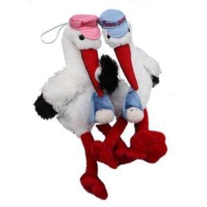 Inware 6860 Cigogne en peluche avec bonnet bleu et bébé dans le bec 19 cm