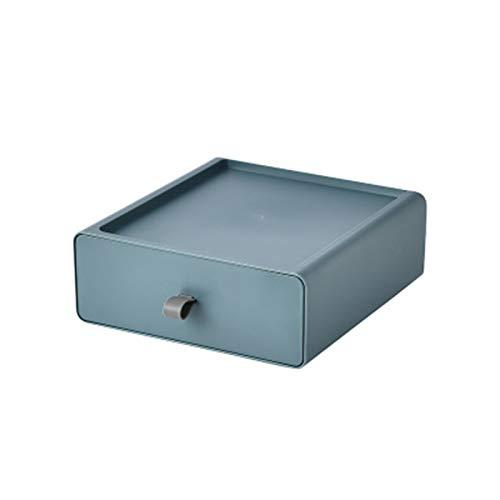 Cajón de escritorio, organizador de plástico multifunción, unidad de cajón de almacenamiento apilable, perfecto para mantener ordenado el escritorio de la oficina en casa (azul)