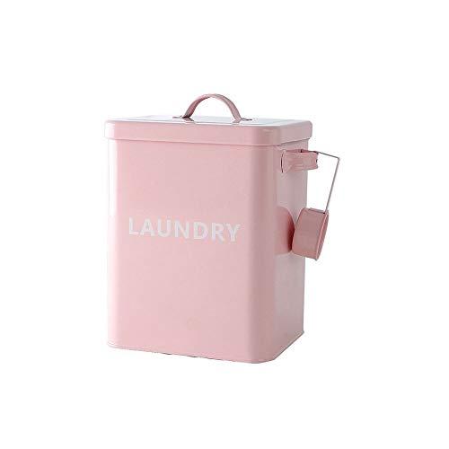 Baffect Wäscheservice Pulver Box, Metallwaschpulver Container Verschlossene Box mit Löffel 3kg Wäsche Waschpulver Metall Aufbewahrungsbox Container und Scoop (Pink)