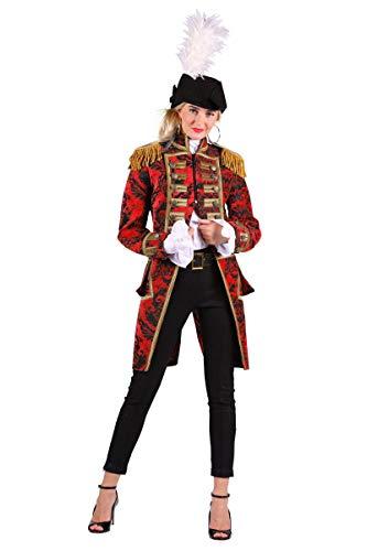 Thetru Damen Garde-Frack Ornamente rot Frack Adlige Piratin Zirkus Fasching Kostüm (S)