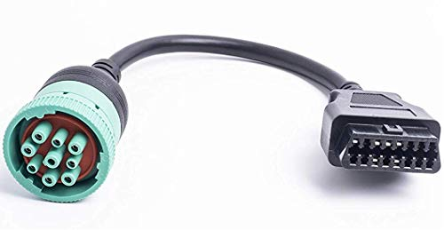 Arteckin Type 2 Green J1939 9pin Female to OBD2 Female Cable