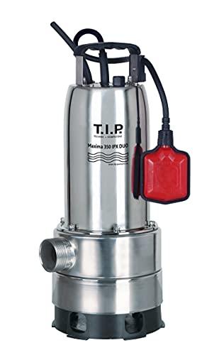 T.I.P. Schmutzwasser Tauchpumpe Maxima 350 IPX DUO mit ausziehbarem Pumpenfuß Edelstahl, bis 20.000 l/h Fördermenge, flachabsaugend 1 mm, 30274, Silber