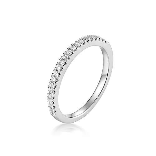 Aimsie Women's Ring Elegant Women's Rings in White Gold 14 Carat (585) White Gold with Moissanite Ring Gold Wedding Ring 585 Bicolour Silver 18k white gold