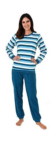 Unbekannt Damen Frottee Pyjama mit Rundhals, Ringel, Uni Hose, Blau, 62958, Gr. M 40/42