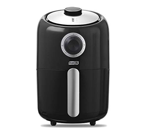 Dash Compact Air Fryer 1.2 L Electric Air Fryer Oven Cooker with Temperature Control, Non Stick Fry Basket, Recipe Guide + Auto Shut off Feature - Black (Renewed)