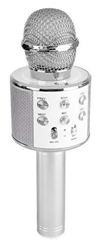 Max KM01 Microphone Karaoké Micro sans Fil Bluetooth – Argenté, Haut-Parleur, Batterie 6h Environ, Micro modificateur de Voix et écho, Fonction Enregistrement et Selfie, Parfait pour Les Enfants