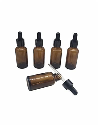 Nalunox- Frasco Cuentagotas de Cristal Capacidad 30ml- Botella con Pipeta de Cristal 5 unidades-Recipiente de Vidrio Color Ámbar
