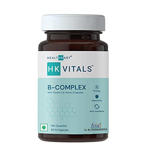 HealthKart HK Vitals B Complex with Vitamins B12, B1, B2, B5, B6, Vitamin C, Vitamin E, and Biotin, Enhances Energy and Immunity, 60 B Complex Capsules
