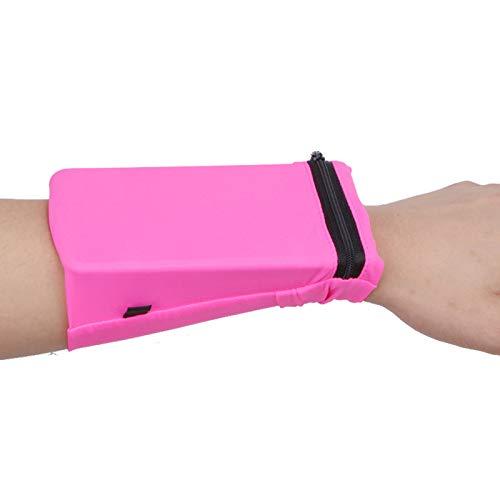 KRISWU Fitness Laufarmband Handyhalterung Tasche Sport Handgelenk Tasche Laufen Gym Tasche Brieftasche für Radfahren Handy Karten (Rose Red L)