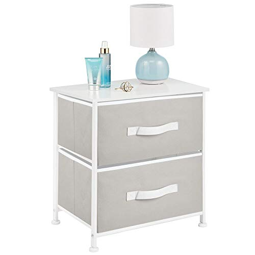mDesign Comodino in stoffa con due cassetti – Organizer ideale per le camere da letto – Ideale...