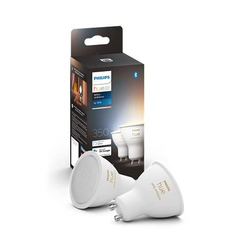 Philips Hue White Ambiance 2 Faretti LED Smart, con Bluetooth, Attacco GU10, 5 W, Dimmerabili, Luce Bianca da Calda a Fredda, 2 Pezzi, Bianco
