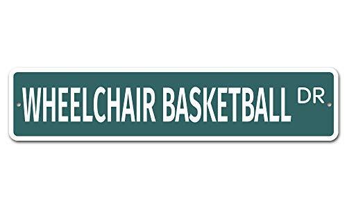 Rolstoel Basketbal 10 x 45 Novelty Straat Teken Aluminium Locatie Teken Aangepaste Metalen Decor Metalen Tin Tekenen Outdoor Teken Verjaardagscadeau Grappig Teken Muur Art Decoratieve