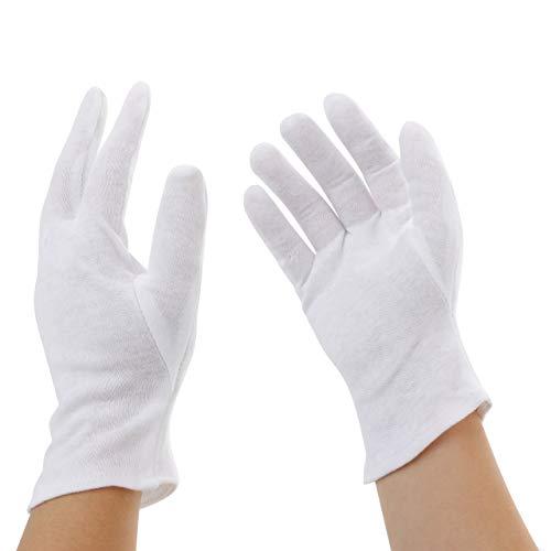 Incutex 5 Paar Baumwollhandschuhe Handschuhe Baumwolle Trikot Handschuhe cotton gloves feuchtigkeitsspendende Handschuhe, Größe L, weiß