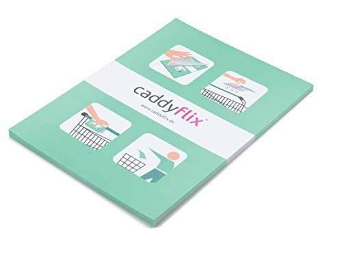 caddyflix ®, selbstklebender Hygieneschutz für Einkaufswagen, 14,8 x 20 cm, 50 Blatt im Abreißblock