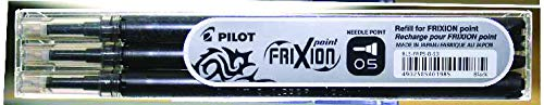 Pilot FriXion Point - Relleno para bolígrafo Point Rollerball, negro (Pack de 3)