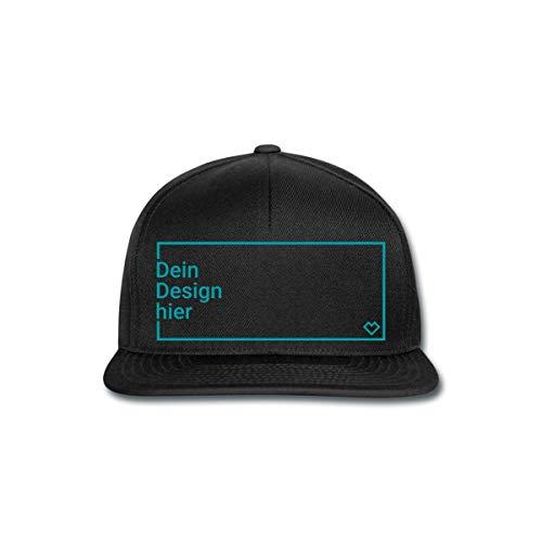 Spreadshirt Personalisierbare Cap Selbst Gestalten mit Foto und Text Wunschmotiv Snapback Cap, Schwarz/Schwarz