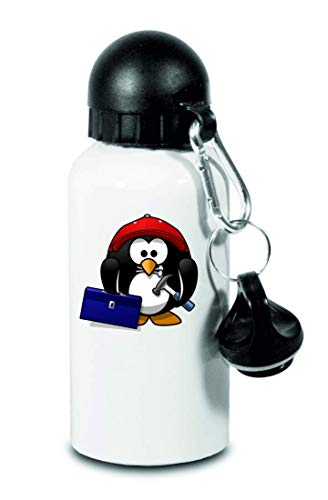 Drucklebnis24 – Botella – Tux Tier Baseball Cap – para niños, escuela, deporte, fitness – Botella de agua fina de aluminio, color Blanco, tamaño 500 ml