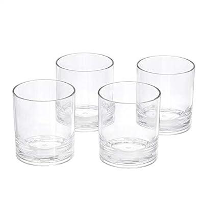 AmazonBasics Tritan Double Old Fashioned Glasses - 13-Ounce, Set of 4