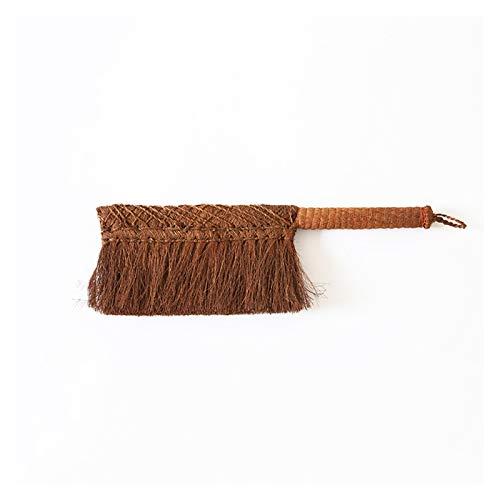 hongbanlemp Plumeros Natural Brown Silk Hand Broom Antiestático Polvo Cepillo Hotel Familia Ropa Polvo Sofá Sofá Sofá Sábanas Limpieza de alfombras Plumero de Plumas
