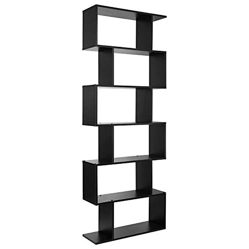 Bücherregal Regal mit 6 Ebenen Standregal Raumteiler Büroregal für Wohnzimmer Büro Schlafzimmer Flur 190,5 x 70 x 23,5 cm schwarz