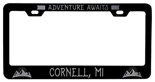 R and R Imports Cornell Michigan Laser Etched Vanity Black Metal License Plate Frame