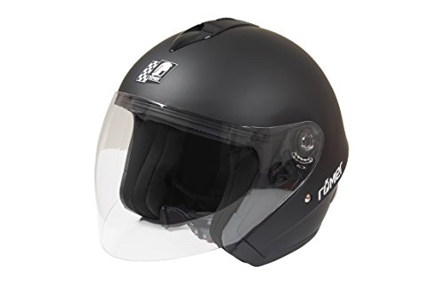 Römer Helmets für den Straßenverkehr Zugelassener Jethelm Römer ST11 mit Großem Visier, Schwarz,  Größe L