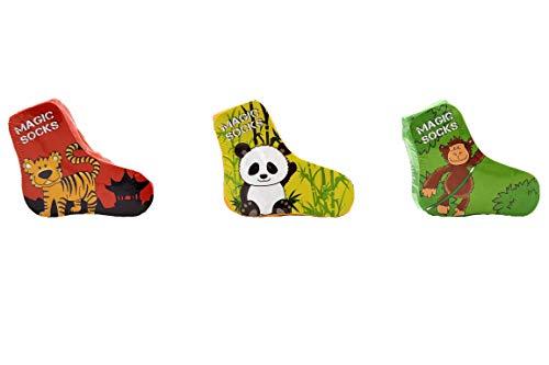 Jack's Magic Socks/Socken ASIEN/GEPRESST/Tierischer Spaß beim entfalten der Socken/verschiedene Größen/Schöne Tiermotive/Tiger/Affe/Panda/Kindergeburtstag/Geschenk (31/34)