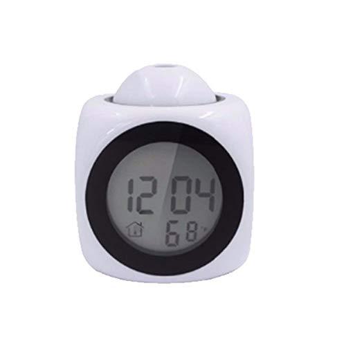 DNAMAZ Despertador Reloj de Alarma Pantalla LCD de proyección LED Hora Reloj Despertador Digital Hablar Voz Indicador de Servicio Termómetro Repetir Función de Escritorio Digitales (Color : White)
