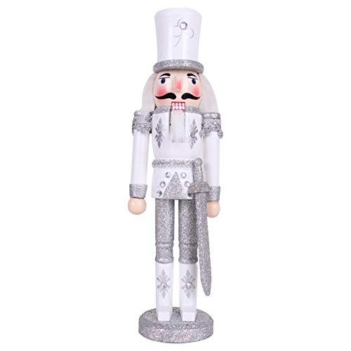 gerFogoo Nussknacker, 30 cm, Holz, Nussknacker, Soldat-Figur, Puppe, Weihnachtsdekoration und Geschenke (Silber)