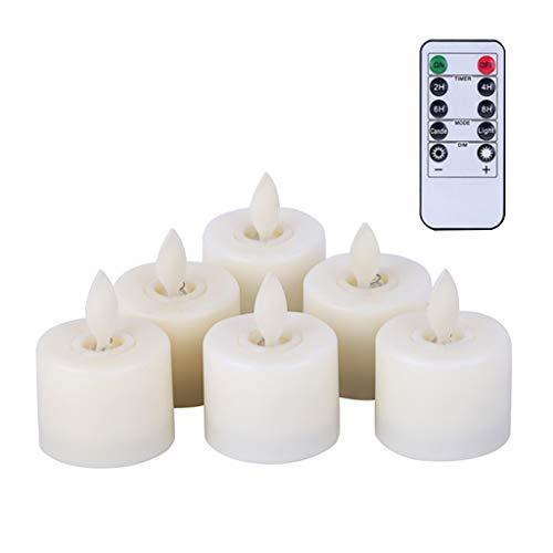 Yasu7 - Juego de 6 velas LED con mando a distancia para casa, té y té