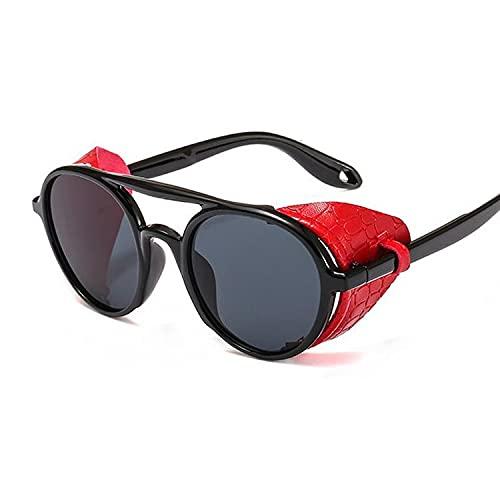 CZFSKCZ Gafas de Sol, Marco de Cuero Pun Punk Gafas de Sol Damas Negro Steampunk Damas Redondo Retro Remache botón Sol Gafas de Sol Mujeres (Lenses Color : Black Red)