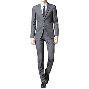 [YFFUSHI] スーツ メンズ 上下セット 二つボタン 黒 紺 灰色 スリム XS-2XL 3色 (グレー, XL)