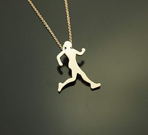 Kette Läuferin Joggen Sport Wettkampf Anhänger rosé golden Juvelato