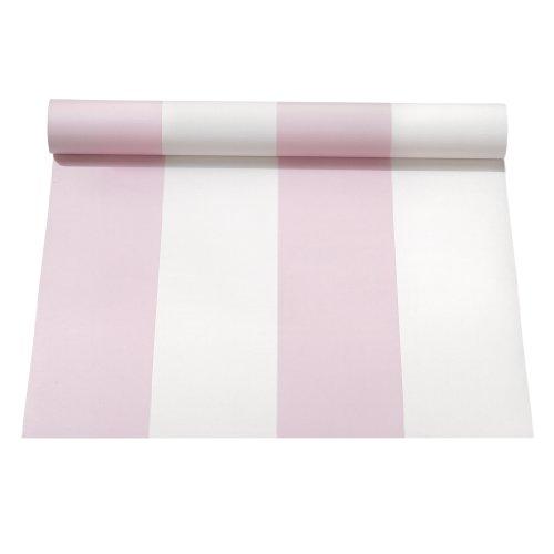 Christiane Wegner 0421-01 behang strepen wit-roze 10 m x 0,52 m